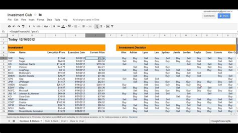 Investment Club spreadsheet - YouTube