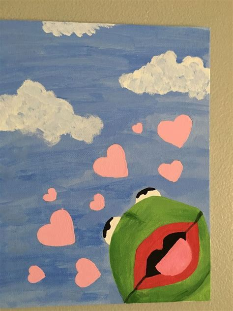 Kermit The Frog Painting With Hearts Tik Tok