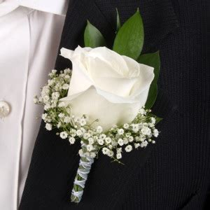 Classic Rose White Boutonniere and Corsage Wedding Package